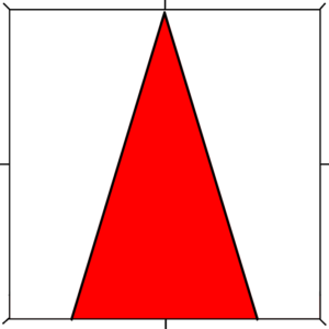 Argent, a pile inverted throughout gules