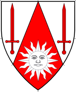 Per chevron throughout argent and gules, two swords and a sun in splendor counterchanged