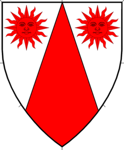 Argent, a pile inverted and in chief two suns in splendor gules