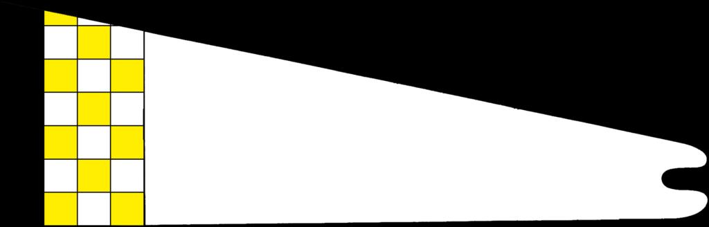 A hoist of An Tir - Checky Or and argent, a tierce sable
