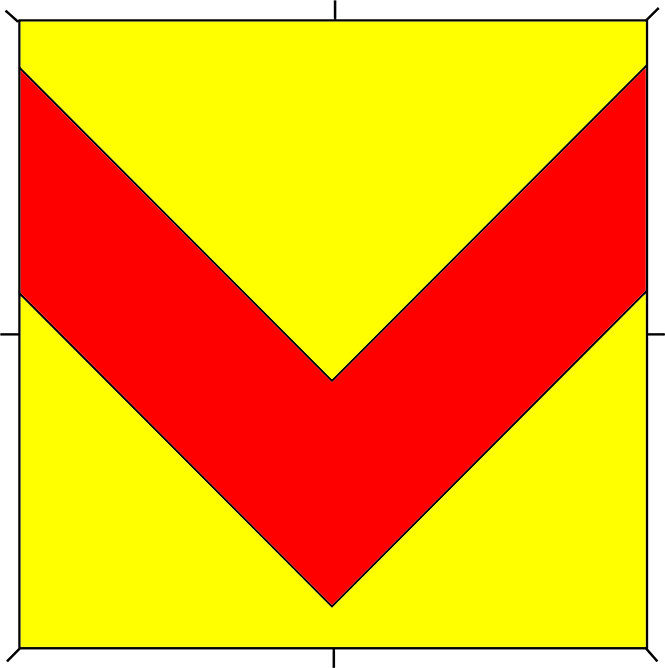 Or, a chevron inverted gules