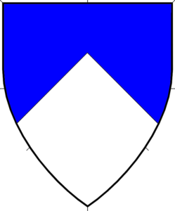 Per chevron azure and argent
