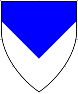Per chevron inverted azure and argent