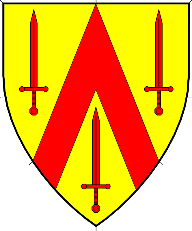 Or, a chevron throughout between three swords gules