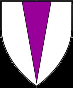 Argent, a pile purpure