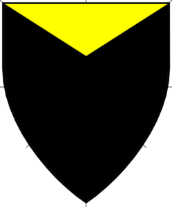 Sable, a chief triangular Or