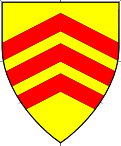 Or, three chevronels gules