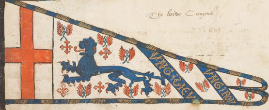 Primary badge: blue lion. Secondary badges: red cross crosslet, red wings entwined with blue knots