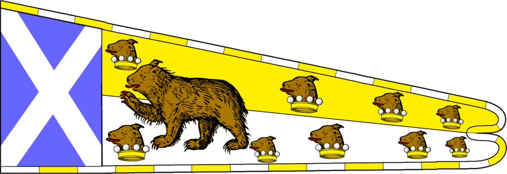 Hoist of Scotland as before, with brown bear and several heads issuant from coronets