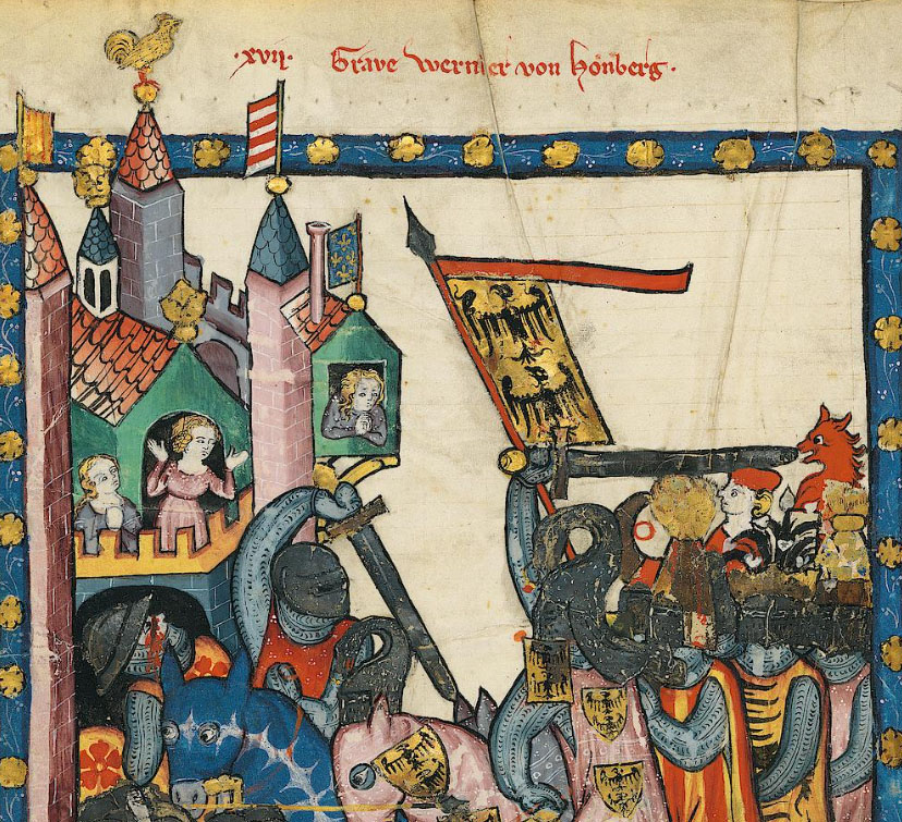 Detail from manuscript illustration showing knights charging into battle with banner flying
